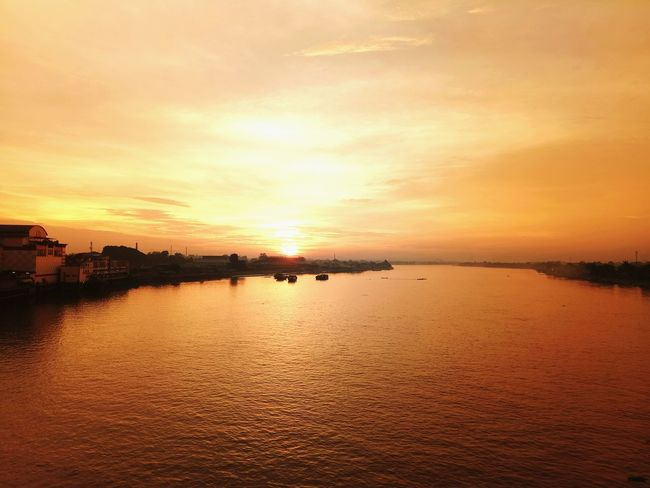 Crossing with you Sunset Batanghari River Jambi Reflection Water Sky