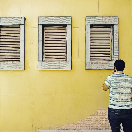 Window Wall - Building Feature Casual Clothing Yellow Shutter Architecture City Life Day Red Green Color Nixa Architecture Minimal