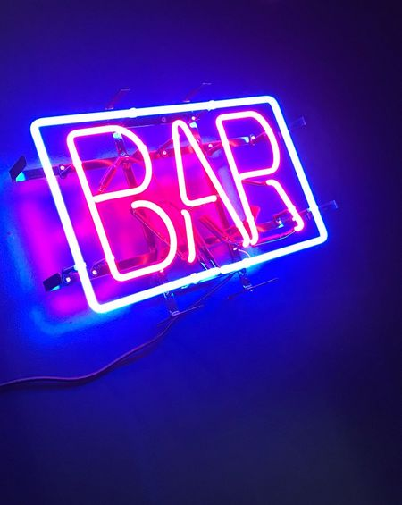 Illuminated Neon Text Communication Low Angle View Night Open Sign No People Blue Outdoors Close-up Bar Bar - Drink Establishment Bar Sign Bar Counter