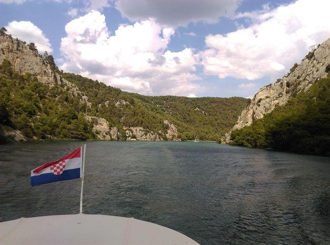 National Park Krka Flag Croatian Flag Boat Trip Landscape Lake Lakeshore Lake View Lakeside Lakescape Lakescape Collection Water Patriotism Flag Sky Cloud - Sky The Traveler - 2018 EyeEm Awards