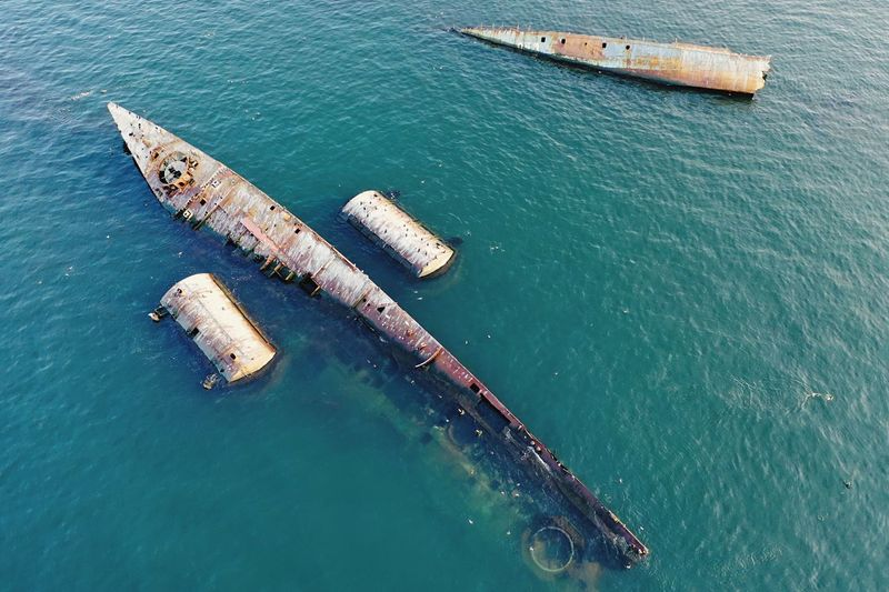 High angle view of old ship in sea