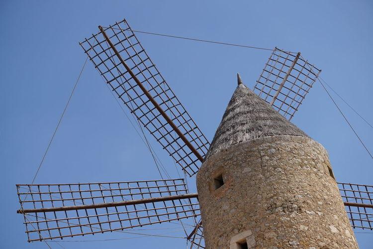 Windmill Mediterranean  Mallorca Maria De La Salut Blue Sky