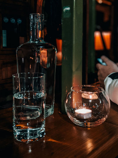 Drinking glass on table