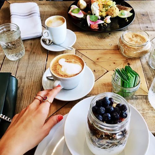 Cropped Image Of Hand Reaching Coffee With Food On Table