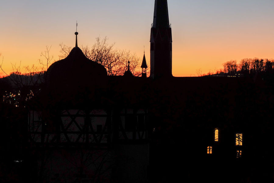 Abbey Maulbronn, late evening light after sunset Architecture Cistercian Abbey Evening Light Historical Building Last Light Of Day Night Photography Silhouette Abbey Maulbronn Architecture Bell Tower Historic Landscape Late Evening Maulbronn Maulbronn Kloster No People Silhouette Sky