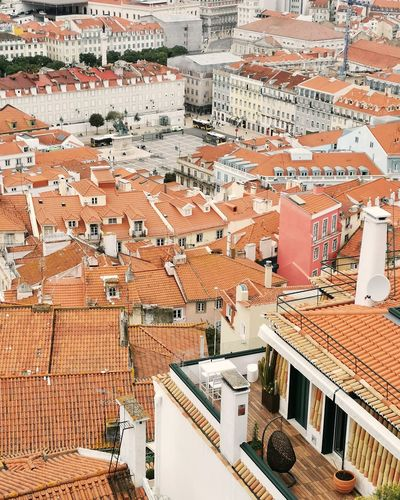 High angle view of buildings in lisbon