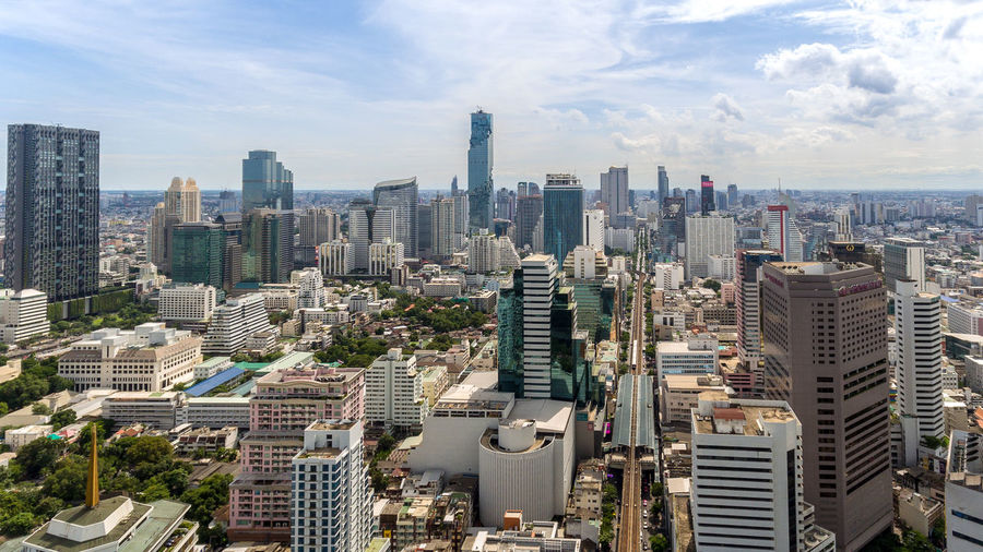 Aerial Shot Bangkok Thailand. Skyline Aerial Photography Architecture Building Building Exterior Built Structure City Cityscape Cloud - Sky Crowd Financial District  Modern Nature Office Office Building Exterior Outdoors Residential District Settlement Sky Skyscraper Tall - High Tower Urban Skyline