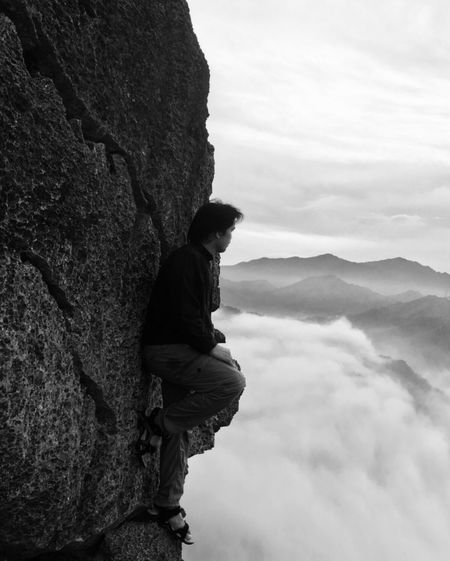 Sea Of clouds Summit View Single Person Nature Risky Poses Cliffside Rocky Mountains Hiking Adventures A Bird's Eye View A Birds Eye View