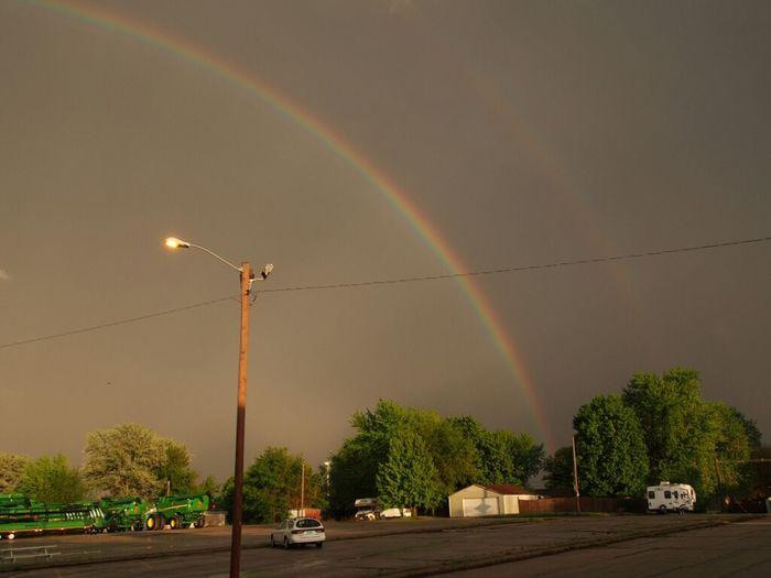 Double rainbows after downpour Nature Beautiful Rainbow Colors