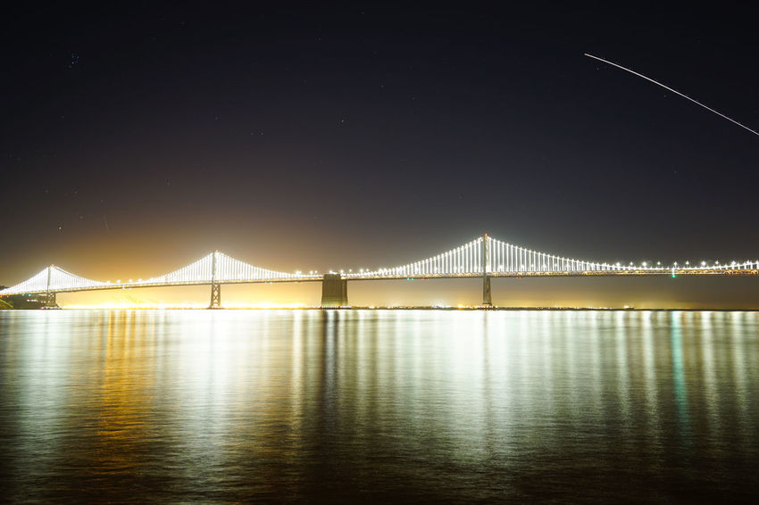 Airplane Bay Bay Area Bridge Bridge - Man Made Structure California Illuminated Long Exposure Night Night Lights Ocean Reflection Reflections San Francisco SF Shooting Star Trailing Lights Water