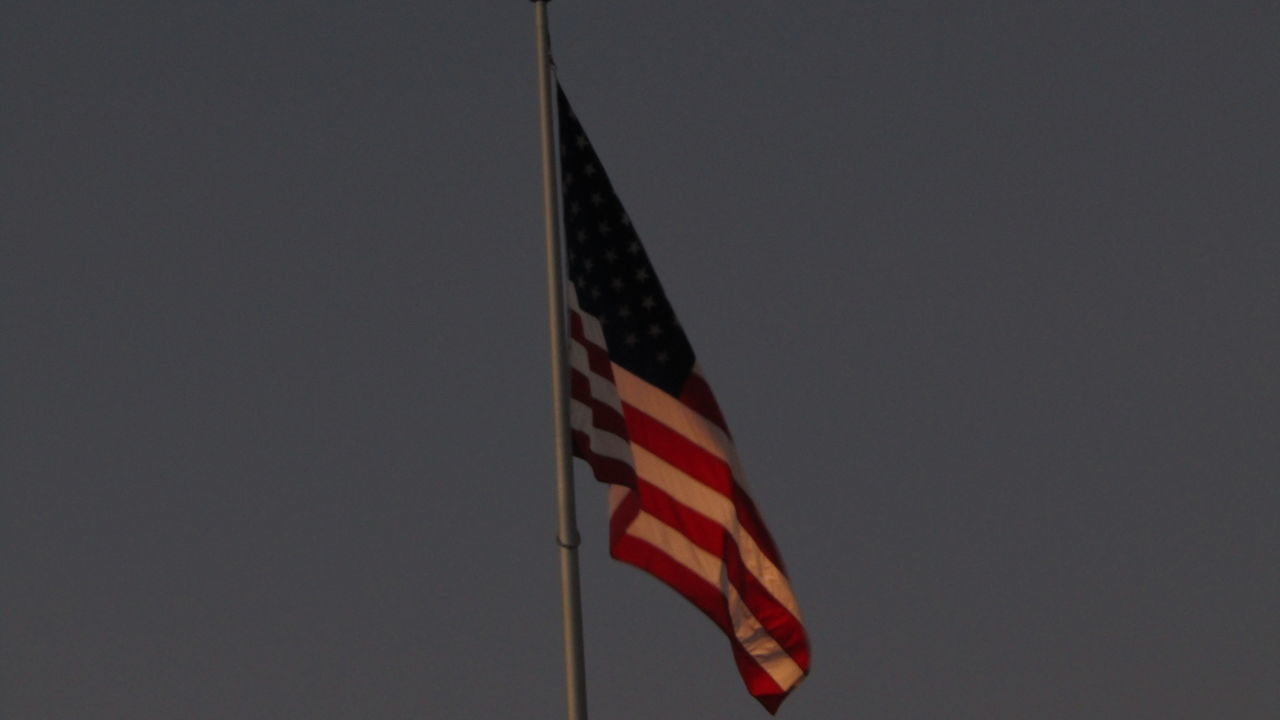 flag, patriotism, striped, stars and stripes, flag pole, low angle view, no people, clear sky, outdoors, day