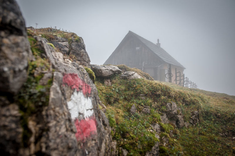Misty day in the mountains Rock Rock - Object Architecture Solid Nature Sky Built Structure Mountain History No People Day Low Angle View The Past Building Exterior Outdoors Rock Formation Building Fog Tranquility Misty