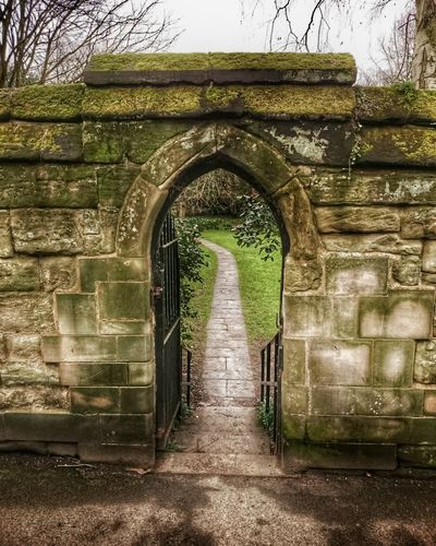 Stone Arch Stone Wall Old Town Path Garden February Gloomy Weather Flagstones Warwick Warwickshire Doorway Stone Steps Moss-covered Stained Fine Art Photography Urban Landscape