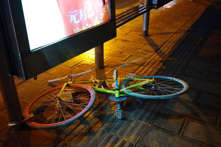 Bicycle Busstation Street Streetphotography Streetphotography Sony A7RII Night Colorful Nightphotography Bicycle No People Stories From The City