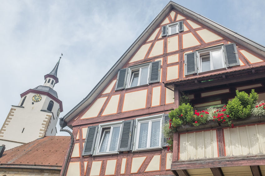 Architecture Building Exterior Churchtower Day Half Timbered House House Low Angle View No People Outdoors Residential Building Sky Window