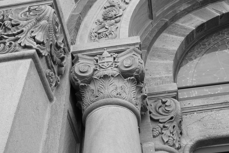 Cathedral Cathedral Basilica Of St. Francis Of Assisi Architectural Column Architecture Bas Relief Black And White Building Exterior Built Structure Close-up Day History Low Angle View No People Outdoors Pattern Sculpture