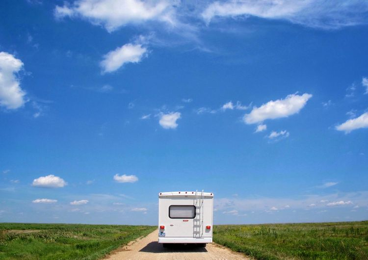 Sometimes, you shoot for stock. RV Travel Motorhome Road Trip Blue Sky Open Road Dirt Road Stockphoto Stock Photography Panorama Check This Out Motorhome Life Rv Recreational Vehicle Travel Travel Photography Copy Space