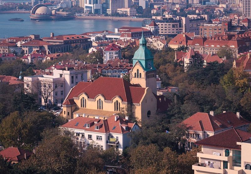 Architecture Place Of Worship Town Building Exterior Tower Roof Architecture Cityscape Qingdao Qingdao China City City House Village Aerial View Cross Section Cityscape Outdoors No People