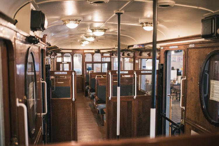 Interior of empty illuminated train