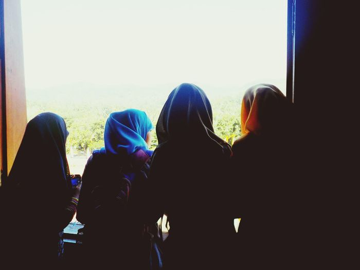 People Together People Women Muslims At The Window View From The Window... Group Indonesian People Women Style Women