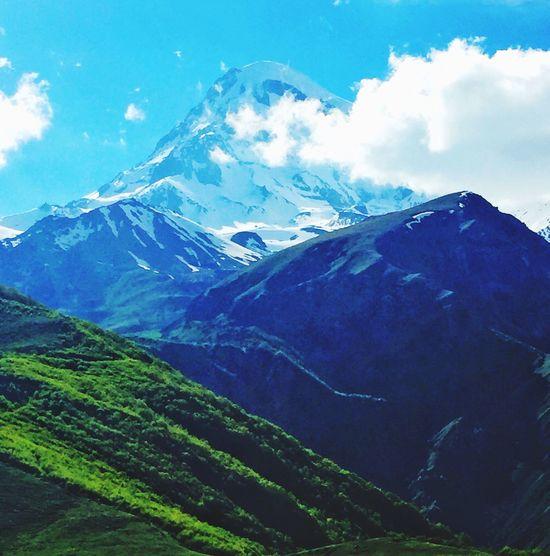 Georgia Caucasus Stepantsminda Kazbek Mount Kazbek, 5047 m, a dormant volcano.