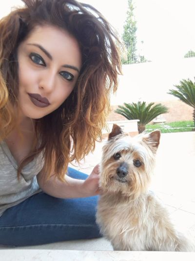 Dog Pets Lap Dog Only Women One Woman Only Adult Adults Only Portrait One Person Long Hair Purebred Dog One Animal Beauty Women Looking At Camera People Domestic Animals One Young Woman Only Cute Beautiful Woman