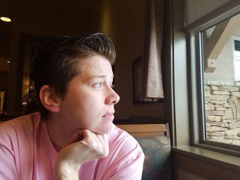 EyeEm Selects Window Headshot Looking Through Window Day Only Women Indoors  Portrait Women One Woman Only 12th Street Utah Ogden Black Friday 2017 Restaurant Table Cafe Lgbt Lesbian