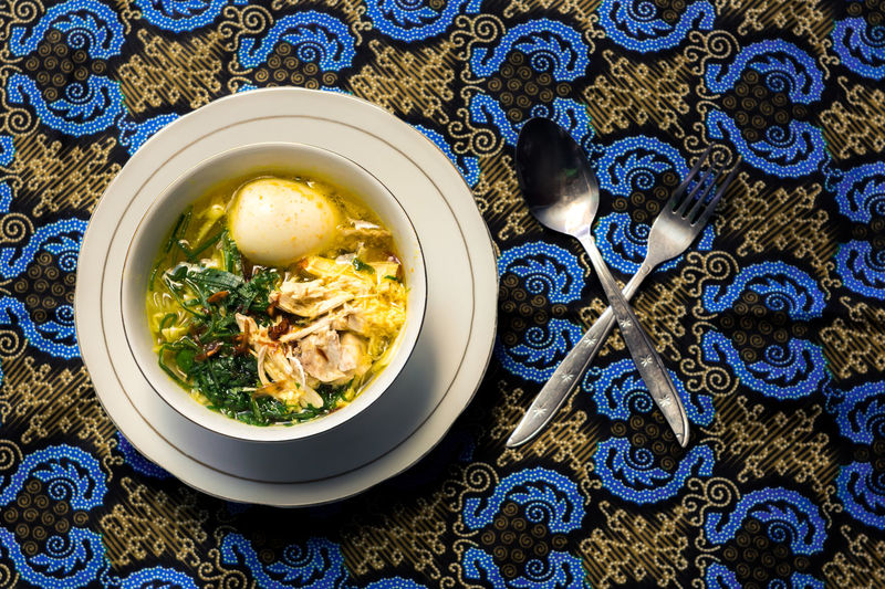 Happy Batik Days Batik Soto Ayam Backgrounds Blue Bowl Chinese Food Close-up Crockery Directly Above Floral Pattern Food Food And Drink Freshness Healthy Eating High Angle View Indoors  Pattern Plate Ready-to-eat Serving Size Soto Soup Soup Bowl Table Wellbeing
