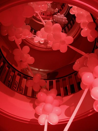Kids conversation...Q: Does never ending live exist? A: Love can change but it's ever present. Pink Color Dome Architecture Red Berlin Exhibition Love Love Science Baloons Staircase Spiral Staircase Winding Stairs Circular Stairway Decoration Old Building  Corkscrew Stairs Indoors  No People