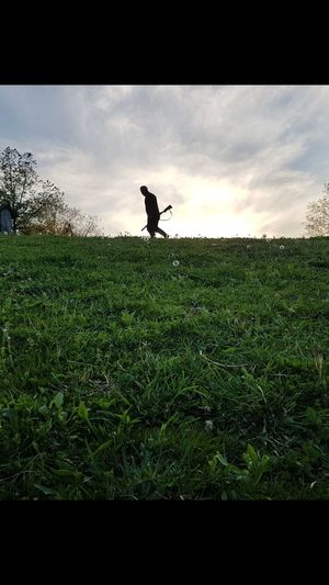 EyeEmNewHere Outdoors Sky One Man Only Grass Nature Day Field Hunter Riffle Adults Only Man Nofilter Original Green First Eyeem Photo