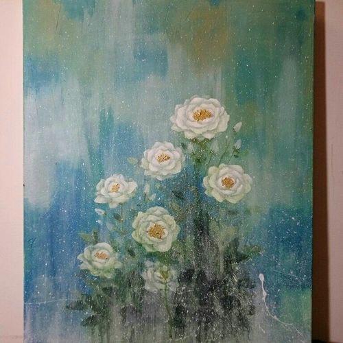 Fb:過敏人 Acrylic Painting Acrylic Roses Flowers