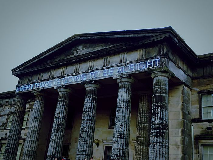Edinburgh Modern Art Museum 'Everything is going to be alright' Positive Quotes Low Angle View Architecture Architectural Column Outdoors No People Day Scotland Weekend Getaway Edinburgh BEAUTIFUL URBAN Travel Destinations Bleak Sky