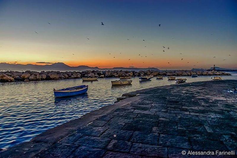 ITALY, naples. Sunset at Borgo Santa Lucia.