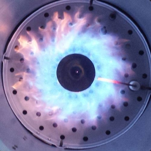 New heater at Work looks badass inside! Fire Blue Bluefire Jet Flames