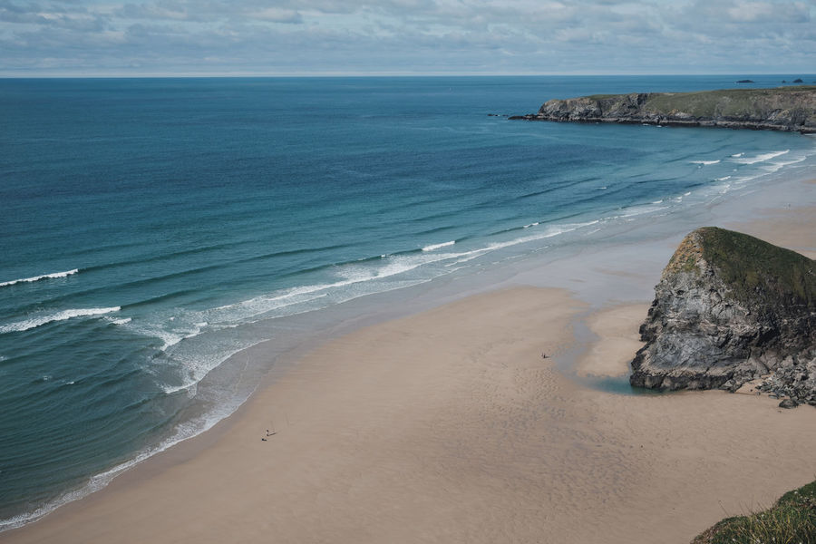 Cornwall, UK Beach Beach Day Beauty In Nature Bedruthan Steps Cornwall Day Fisherman Horizon Horizon Over Water Idyllic Land Motion Nature No People Non-urban Scene Outdoors People On Beach Rock Sand Scenics - Nature Sea Sky Tranquil Scene Tranquility Water