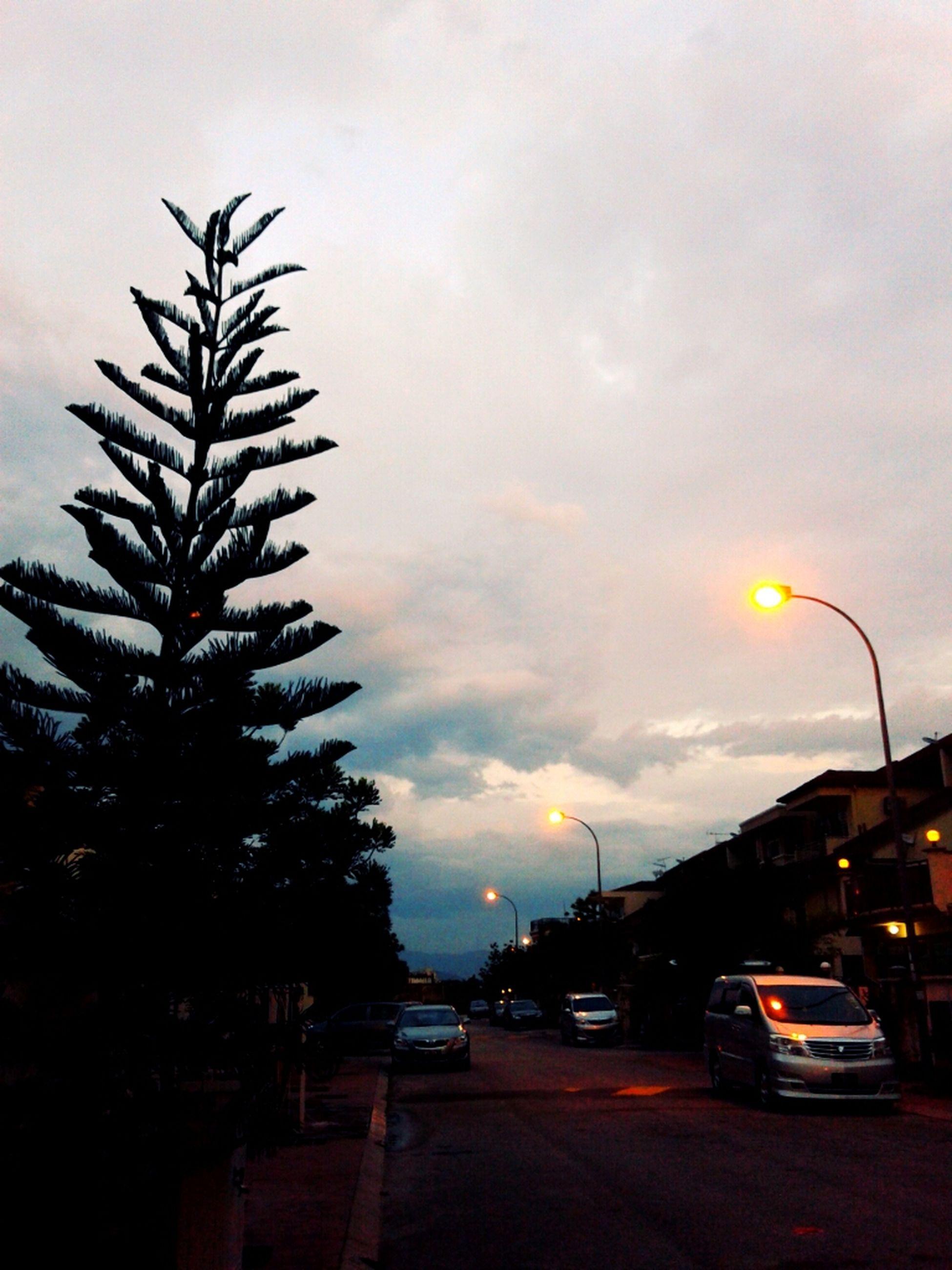 car, transportation, land vehicle, sky, road, mode of transport, street, street light, cloud - sky, building exterior, architecture, built structure, tree, sunset, illuminated, traffic, city, dusk, cloudy, cloud