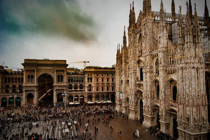 Piazza Duomo_Milano Architecture Building Exterior City Crowd Day Duomo Duomo Di Milano Façade Galleria Vittorio Emanuele Gotico History Italy Large Group Of People Lifestyles Milan Outdoors People Piazza Del Duomo Sky Tourism Tourist Travel Travel Destinations Vacations