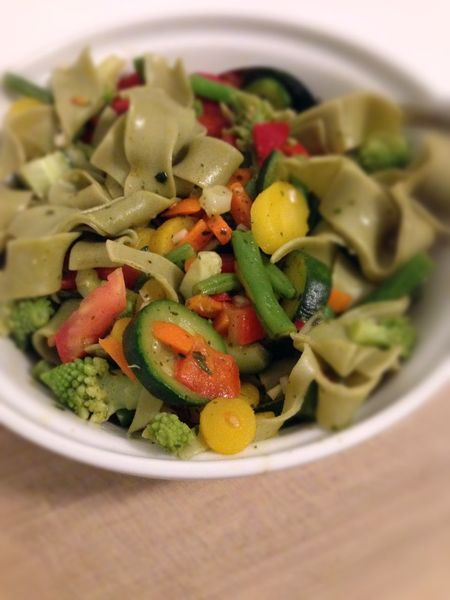 colorful vegetables with tagliatelle on plate Close-up Colorful Food Freshness Healthy Eating Noodles Ready-to-eat Tagliatelle Vegetables Vegetables & Fruits Vegetarian Food