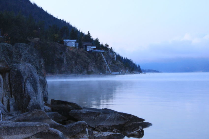 Blue Water Cold Day Cold Water Fog On The Lake Foggy Morning Okanagan Lake Winter Water Wintertime
