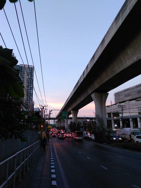 Traffic jam Traffic Jam Red Light Break Road Bangna Bangkok Thailand Roadside Structure Sunset Sky Street Photography The Street Photographer - 2016 EyeEm Awards