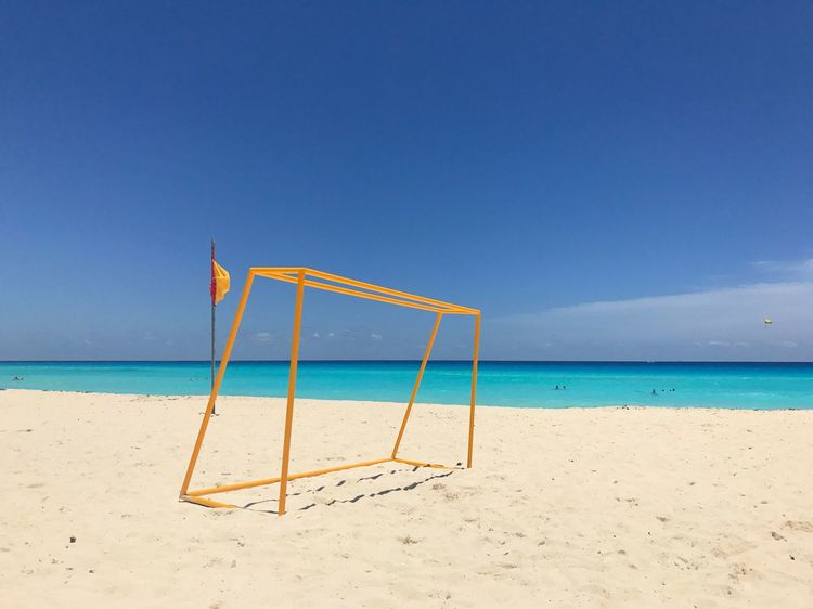The weather 😭 Beach Beachphotography Sea Ocean Atlantic Ocean Soccer Football Summer Sunny Blue Blue Sky Yellow Colors Geometry Lines Nature Landscape Photography Cancun Mexico Breathing Space