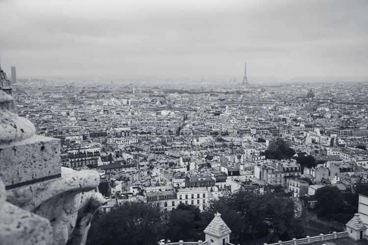View of paris from the sacre couere basilica with the eiffel tower standing high