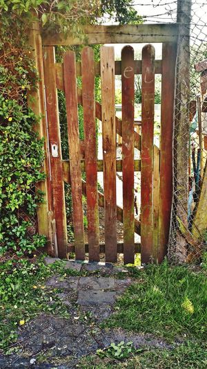 Wooden gate on field by fence