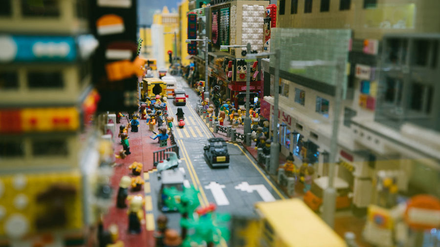 LEGO Legophotography Selective Focus City Transportation Mode Of Transportation Street High Angle View Motor Vehicle Car City Life Land Vehicle In A Row Architecture Traffic City Street Tilt-shift Store Incidental People Shelf Road Consumerism