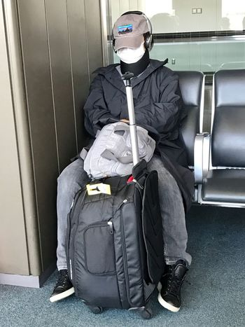 Live For The Story Protective Workwear Men Indoors  Real People Weapon One Person People Day Adult Japan Travel Traveling Suitcase Face Mask Incognito Airport TunedOutII