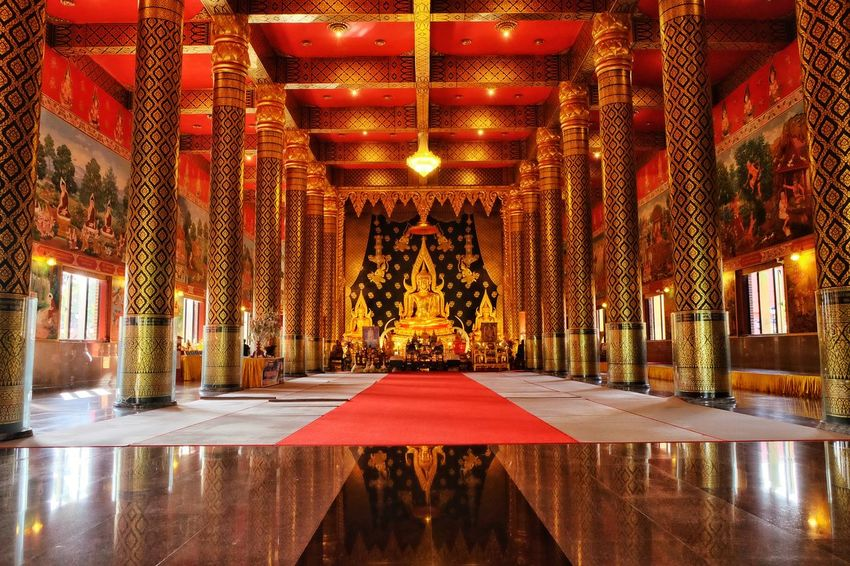Lighting Equipment Architecture Gold Colored Built Structure Hello World Buddha Statues Buddha Temple, Thailand