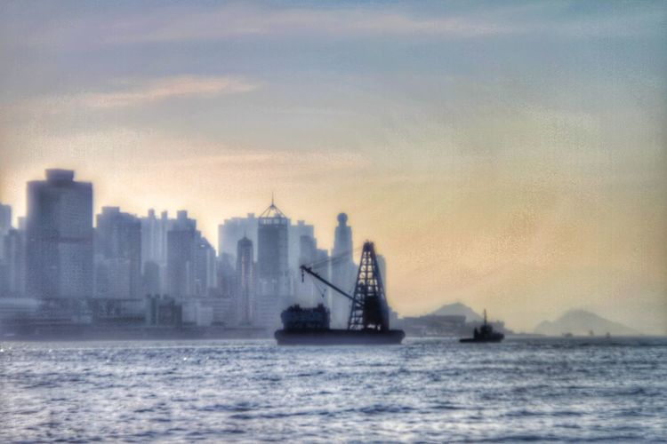 Harbour View Hong Kong Architecture Cityscape City Urban Skyline Water Skyscraper Business Sunset Sea Industry Cold Temperature Financial District  Silhouette Skyline Office Building High Rise Downtown Tall Foggy Boat