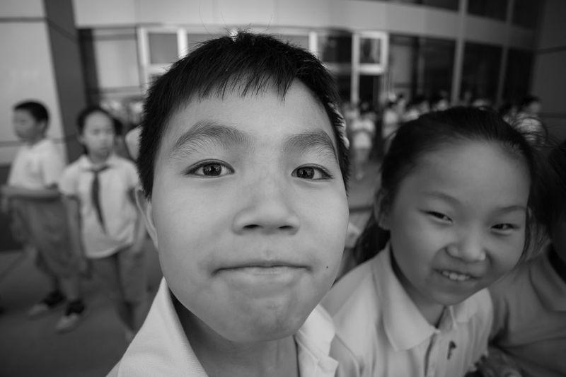 Friendship Portrait Child Childhood Smiling Females Boys Looking At Camera Togetherness Girls
