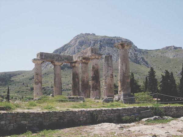 Architecture Mountains Corinth Greece 2004