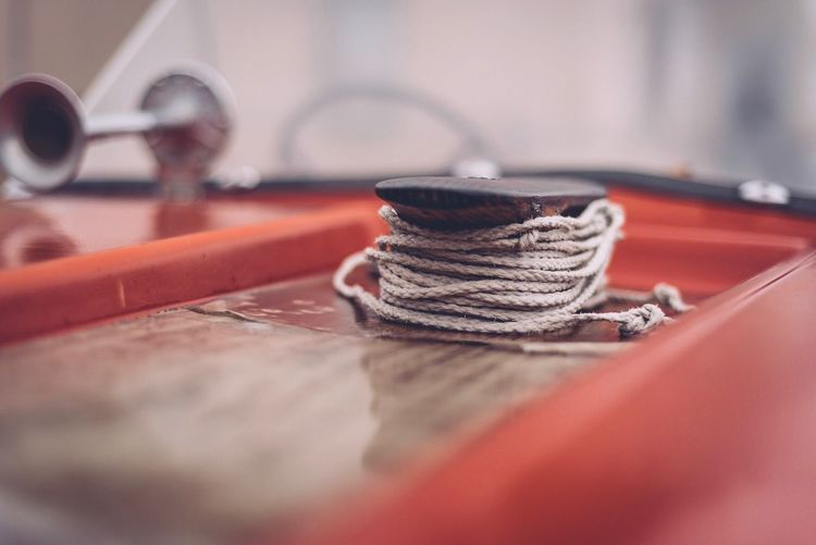 Close up of rope on boat